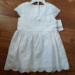 Carter's Baby Girl Delicate White Scalloped Dress